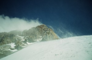 Summit of Aconcagua on a relatively mild day, December 24th, 1991.